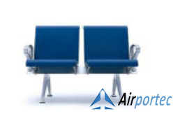 Bangku tunggu bandara super murah 2691 PU 2 seater 2 arms blue