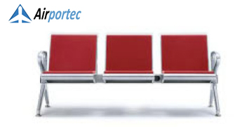 Jual kursi ruang tunggu 2695 3 seater with 2 arms red