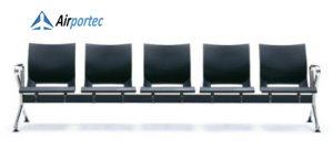 harga kursi ruang tunggu stainless steel B1 5 seater with 2 arms Black