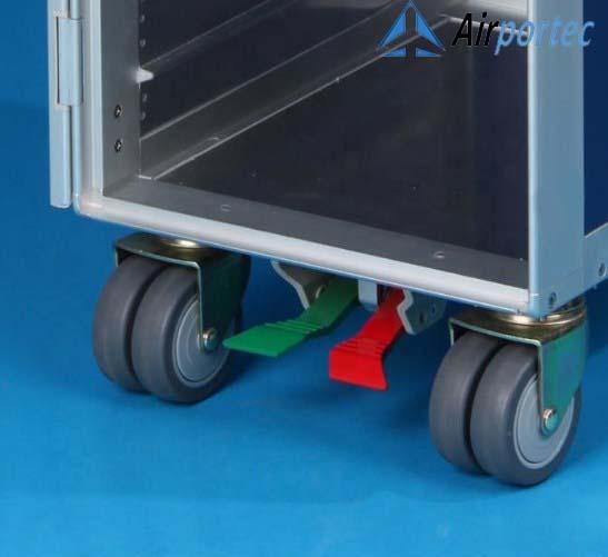 Beli troli Aluminium untuk makanan di pesawat GCATF-81D Tampak roda