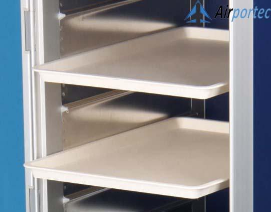 Beli troli Aluminium untuk makanan di pesawat GCATF-81D tampak rak rak